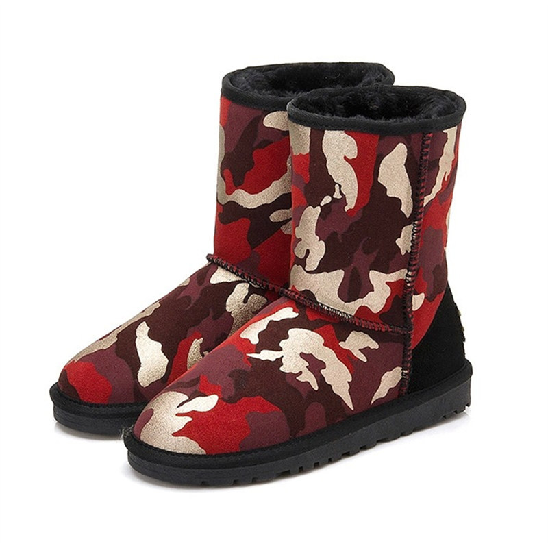 2015 New Style Warm Camo Genuine Leather Boots Women Fashion Brand Quality Leather Snow Boots Women Shoes Winter Autumn MF294