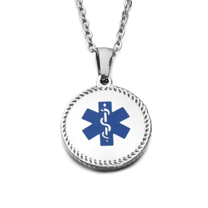 Stainless Steel Fashion Pendant Necklace Blue Enameled Cross Medical Sign Dog Tag Pendant