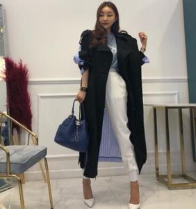 Retro Vintage Stripe Print Patchwork Casual Loose Trench Coats Plus Size Women Fashion Long Outerwear