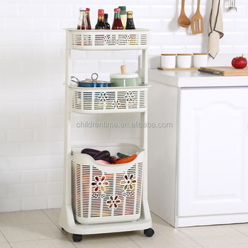3 Tier Bathroom Dirty Clothes Storage Plastic Laundry Basket With Wheels