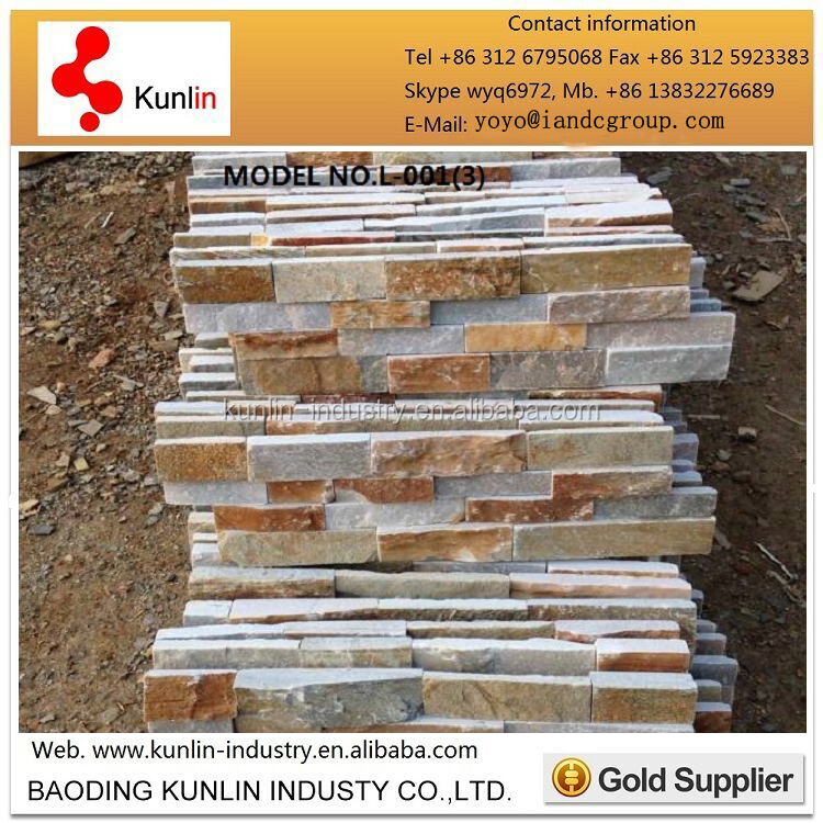 Natural exterior yellow wall cladding slate culture stone tile