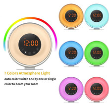7 colors Sunrise Simulation FM Radio Function bedside lamp Alarm Clock with Wake up lamp
