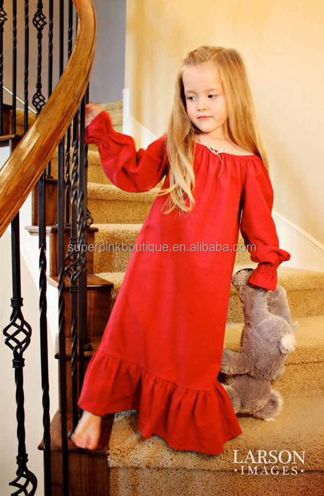 wholesale red cotton ruffle plain nightgown