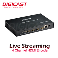 Lowest Cost 4 Channel HD 1080P to IP Video IPTV Encoder with RTSP RTMP HLS UDP Output HEVC H264 Live Streaming Encoder