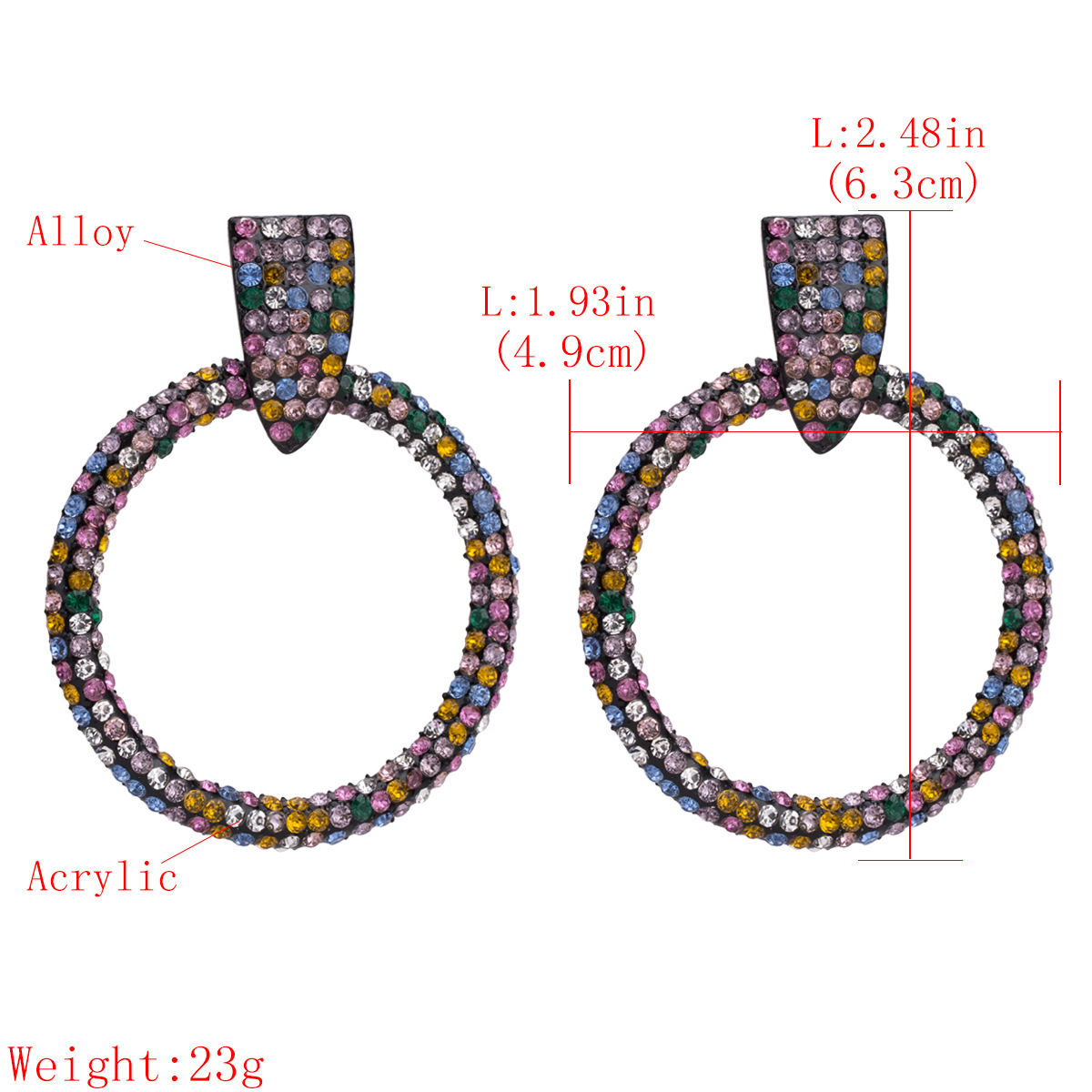 2019  Bohemian Crystal Rhinestone Black Plated Colorful Hoop Round Earring Jewelry