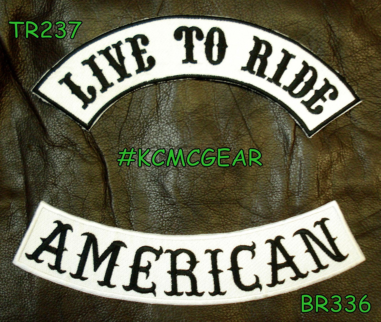 LIVE TO RIDE AMERICAN Rocker Patches Set for Biker Vest