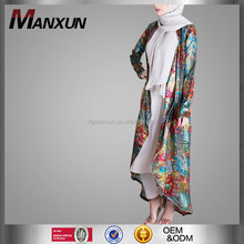 Latest muslim casual abaya new design flower printed muslim kimono abaya