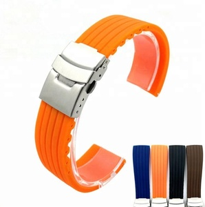Sports waterproof full size 22mm 24mm color silicone rubber watch strap