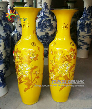 Chinese Ceramic Yellow Color Large Decorative Floor Vases From 48inch To 88 Inches High For Whole