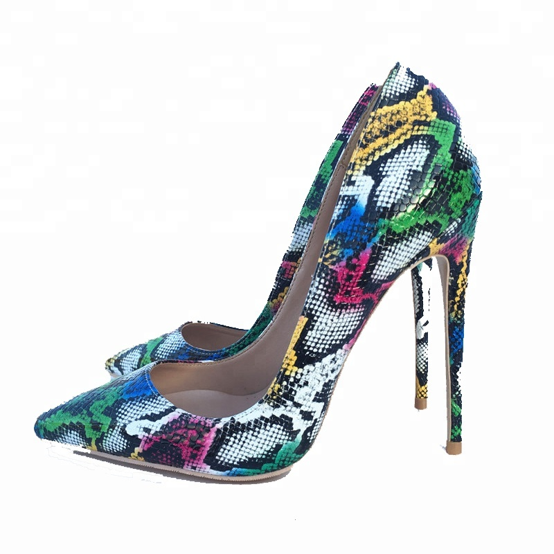 Wholesale Shoes Manufacturer OEM Mature Women Shoes Snakeskin Printed Italy Luxury High <strong>Heels</strong>