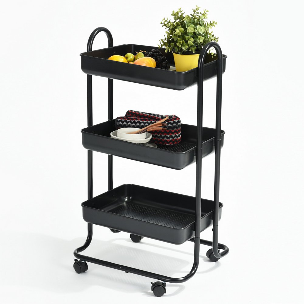 EGGREE 3-Tier Metal Rolling Home Kitchen Storage Utility Cart Multi-function Trolley Cart With Handle and Caster,Kitchen Steel Serving Island Utility,Black