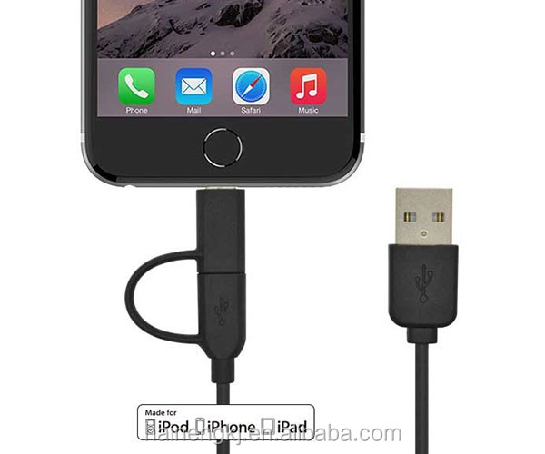 Mfi certified 2.4A fast charge 2 in 1 Combo charging usb Cable for Apple devices