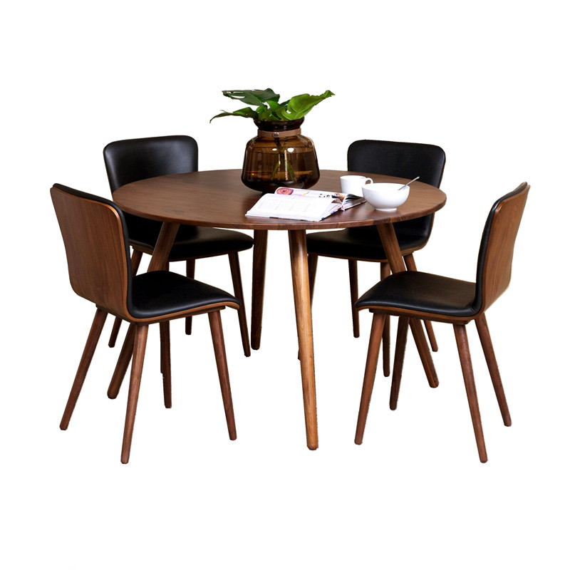 Round Wooden Dining Table 4 Chairs Set