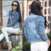 Wholesale Clothing Chinese Traditional Women Fashion Demin Jean Jacket