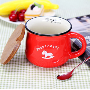 Custom Gift Glazed Ceramic Big belly Travel Coffee Tea Cups Mugs with Bamboo Lid Repeated Mug with Spoon