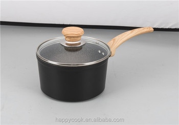 Marble Coating Wooden Handle Non Stick Sprinkle Sacue Pan
