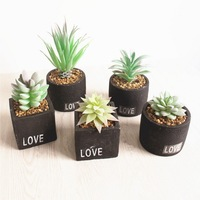LOVE Mini Potted Plants Small Artificial Succulents with Cement Pot for Office Desk Decoration