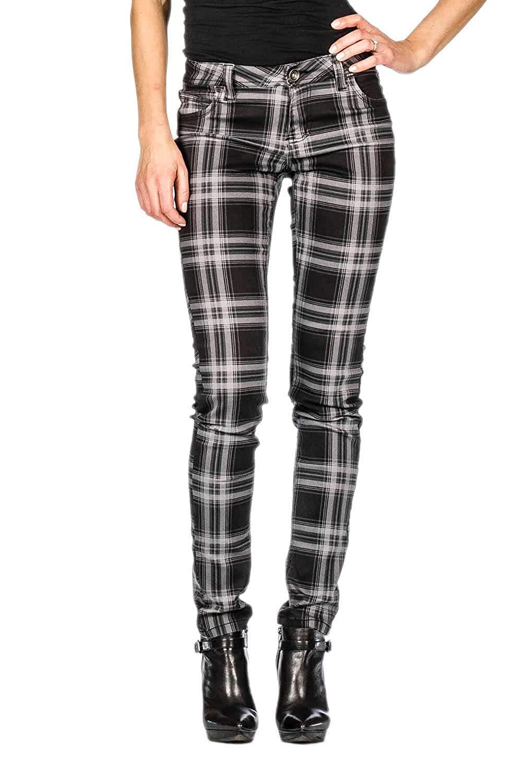 cf7aca1f24 Get Quotations · Suko Jeans Women s Plaid Skinny Jean Tartan Pants Power  Stretch Denim