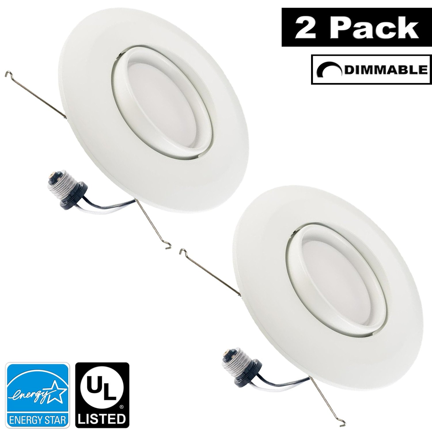Luxrite LR23045 (2-Pack) 15W 5/6 Inch LED Gimbal Retrofit Downlight, 120W Equivalent, ENERGY STAR, Dimmable, Bright White 5000K, Adjustable Recessed LED Ceiling Light, UL Listed
