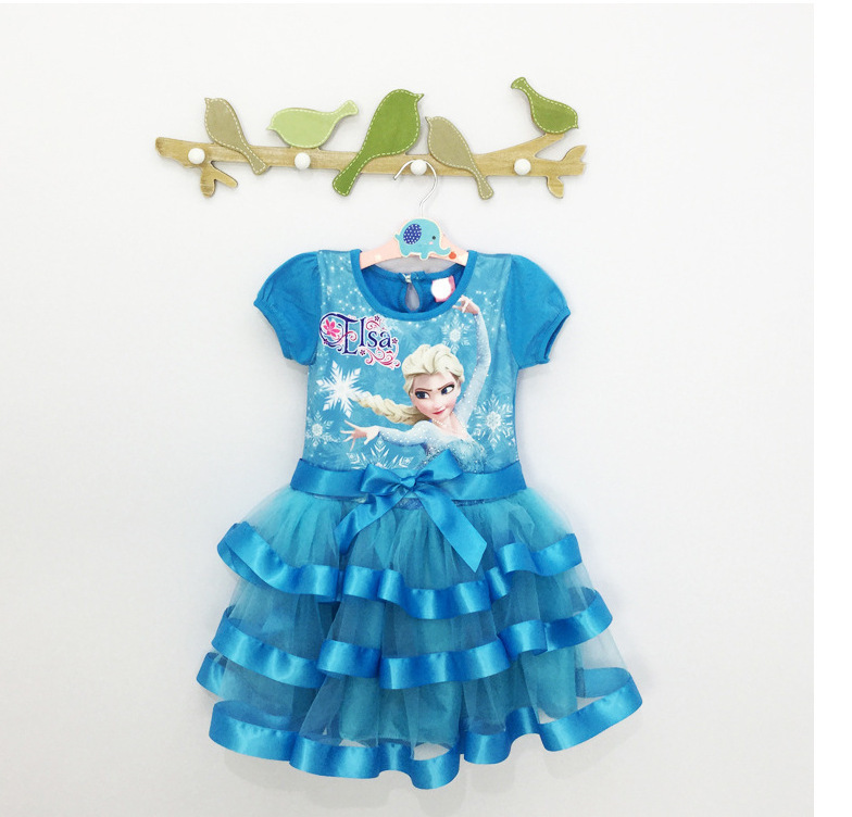 2015 Custom Girl Dress Fever Elsa Anna Cosplay Dress Vestidos Infants Princess Dress Summer Children Clothing Baby Kids Clothes