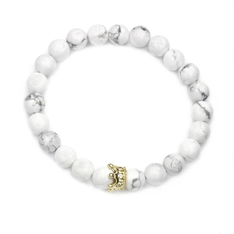 Gold crown with zircon stone crystal charm lava Agate stone bracelet men