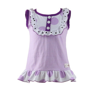 Boutique Cotton bulk bib sleeveless shirts summerruffle baby girls t- shirts clothing kids shirts