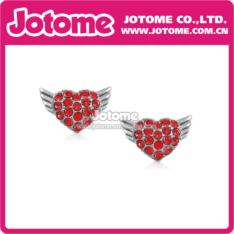 Small Silver/GoldTone Flying Heart Angel Wings Shaped Stud Earrings with Sparkling Red Crystals
