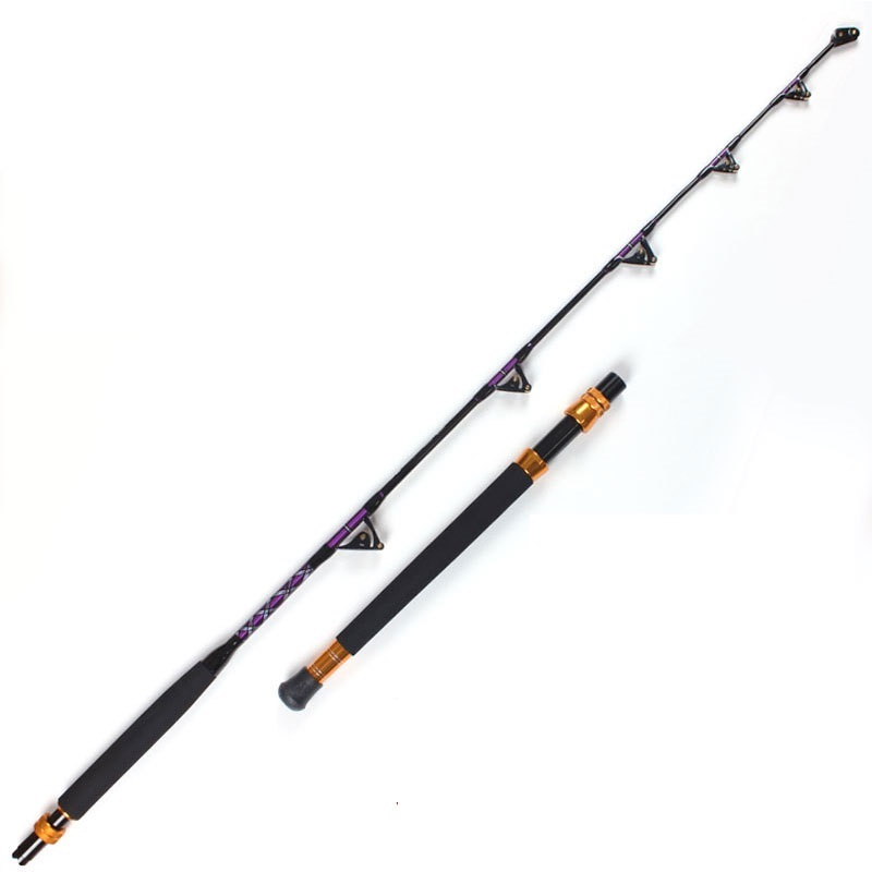 High Carbon strong power double roller guides game / trolling rod 50kgs 1.80m boat rod saltwater fishing rod
