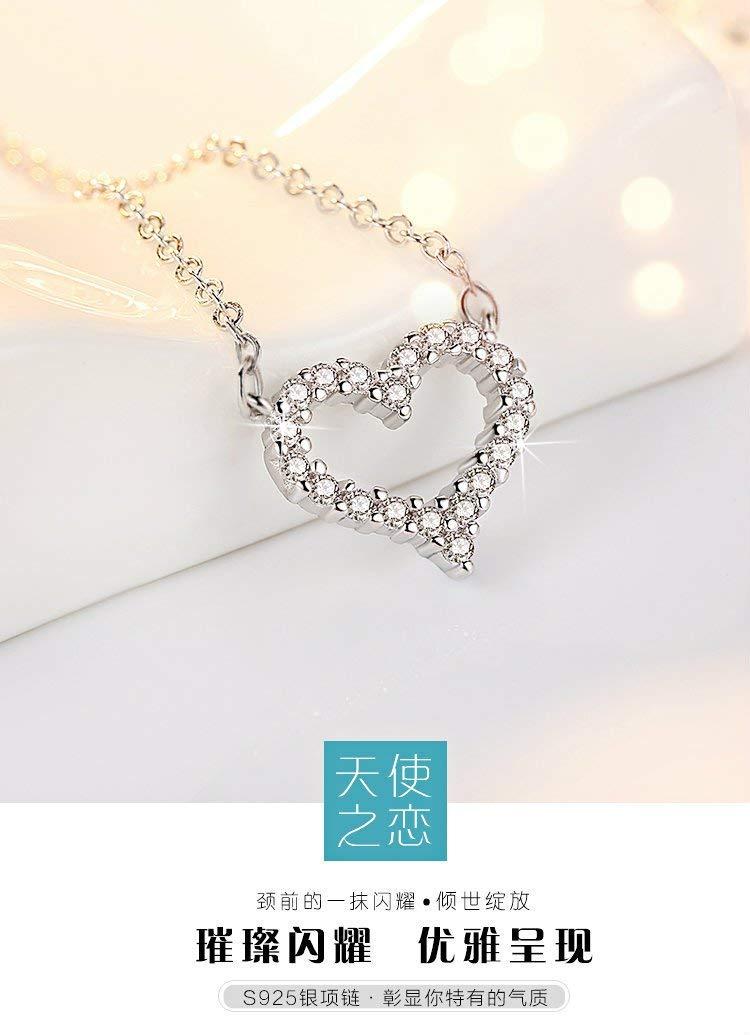 usongs You can not hug ya Zhang Xi love same paragraph diamond necklace pendant Micro Pave zircon short paragraph clavicle chain new