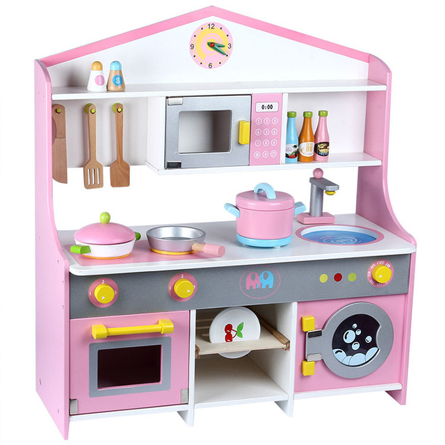 Big Pink Cooking Kitchen Set Toys For Kids Pretend Play Wooden
