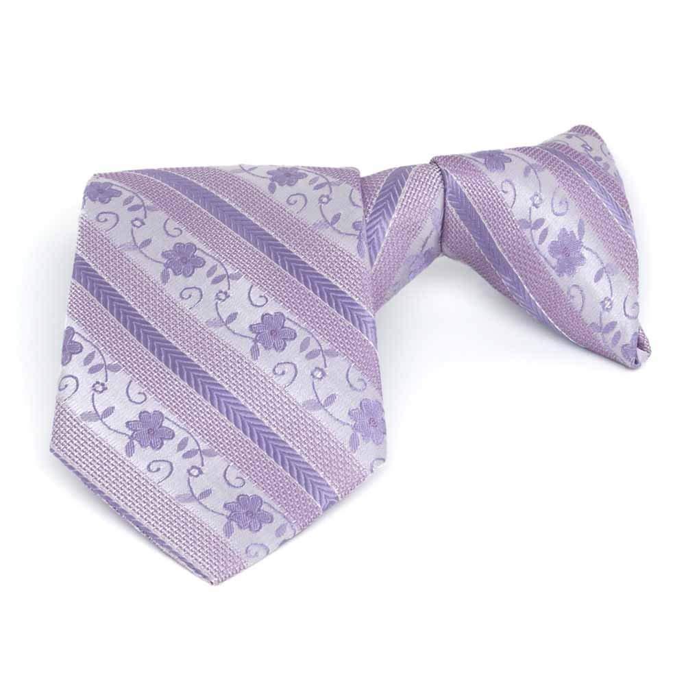 "TieMart Boys' Freesia Anna Floral Stripe Clip-On Tie, 14"" Length"