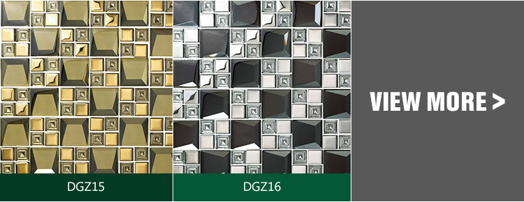 high- quality  15x15mm 23x23 mm square golden crystal glass mosaic gold electroplating glossy glass mosaic