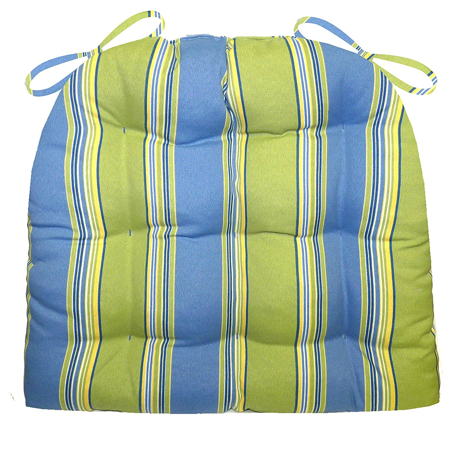 Patio Chair Cushion - Cabana Stripe - Indoor / Outdoor, Mildew Resistant, Fade Resistant - Reversible, Tufted, U Shaped Chair Pad, Box Edge Seat Cushion, Latex Foam Fill - Outdoor Furniture Replacement Cushion for Patio Armchair (Hampton Bay Blue, Medium [with Ties])