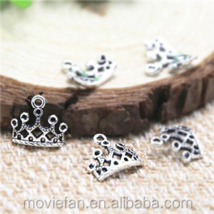 Small Tiara Beauty Queen Princess Royal Charms Dark Silver Tone Little Crown Charm Jewelry 12x12 mm