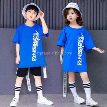 6c2aa1a67 2018 Fashion boys and girls hip hop Modern Jazz dance costumes blue top  Black short