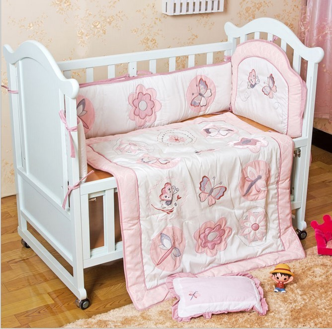 Discount 6pcs Embroidery Cheap Price Baby Crib Bedding