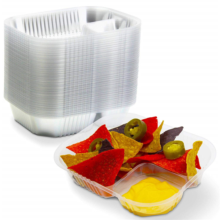 Nacho Plastic Tray Anti Spill Large Nachos Trays Disposable 2 Compartment Clear Dart Trays Best for Cheese Sauce or Dips