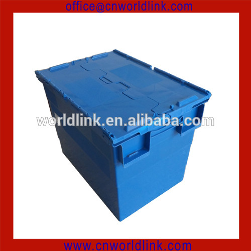 Moving Company Use Storage Attach Lid Plastic Crates With Dolly
