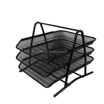 WIDENY Office Black Silver Metal Wire Iron Mesh 3 Layer Desk Rack Paper  Document File Tray