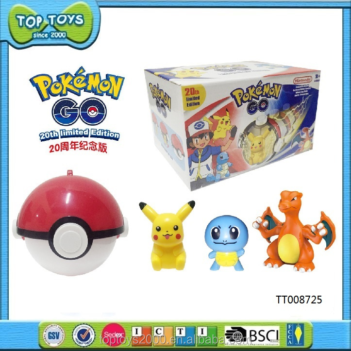 2017 Wholesale Pokemon Go 9cm Pokeball with Delicate Figures Toys