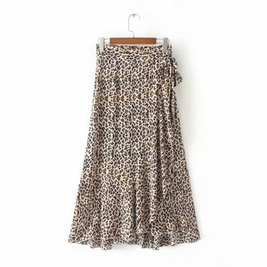 Good quality animal print skirt women side tie design leopard print leopard summer long skirts