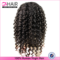 10-32inch available afro kinky curly virgin brazilian hair half wig