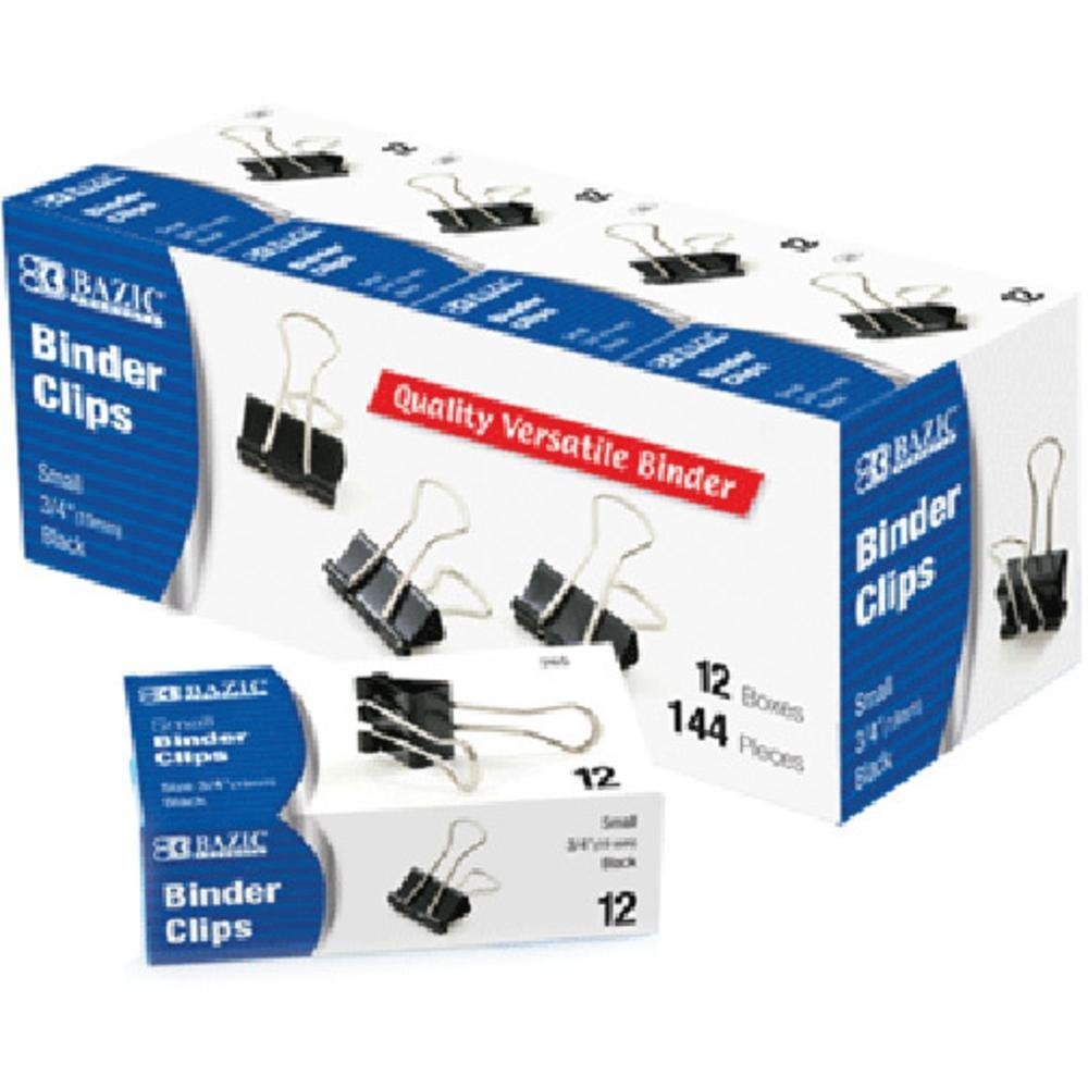 "BAZIC Small 3/4"" (19mm) Black Binder Clip (12/Box), Box Pack of 12"