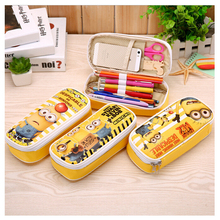 I49 1X Kawaii PU Leather Minions Pencil Holder Pen Bag Pouch School Stationery Case Storage Box Kids Gift