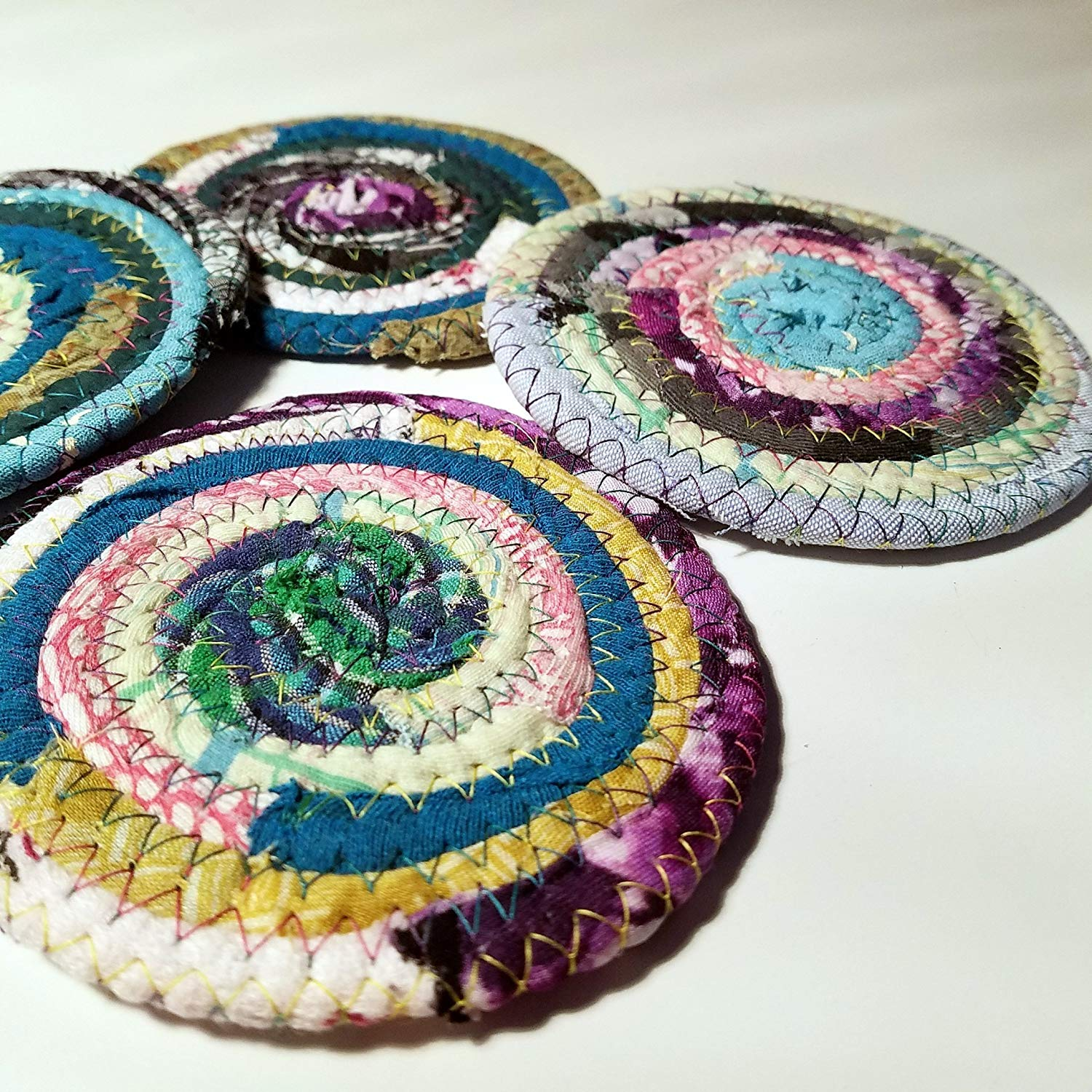 Handmade Fabric Coasters Multicolor Made to Order, Colors Will Vary, Upcycled Set of 4 Cloth Bohemian Drinkware Coasters