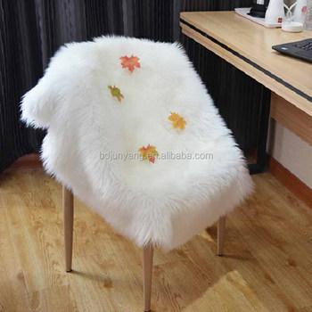 Plush Imitation Fur Sheepskin Chair Cover Faux Rug White Area