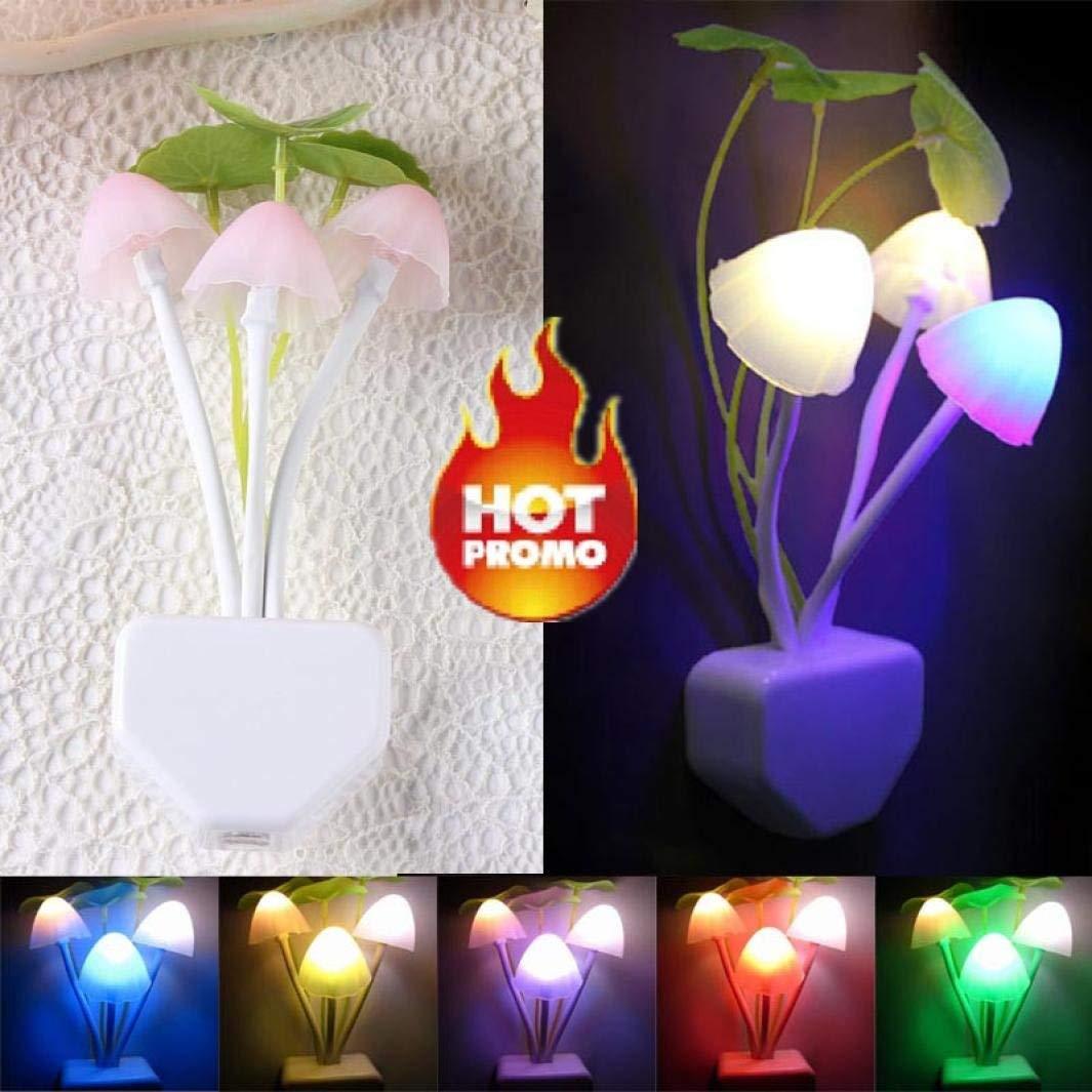 Wall Lamp Home Decor, Rumas Romantic Colorful Sensor LED Mushroom Night Light