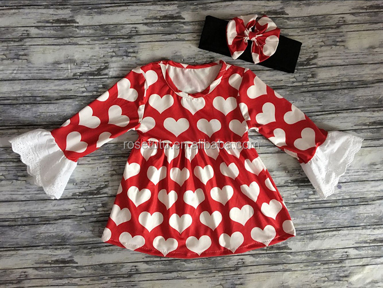 Kids clothing wholesale baby girls party dresses 2-16 years old Vanlentine's Day clothes