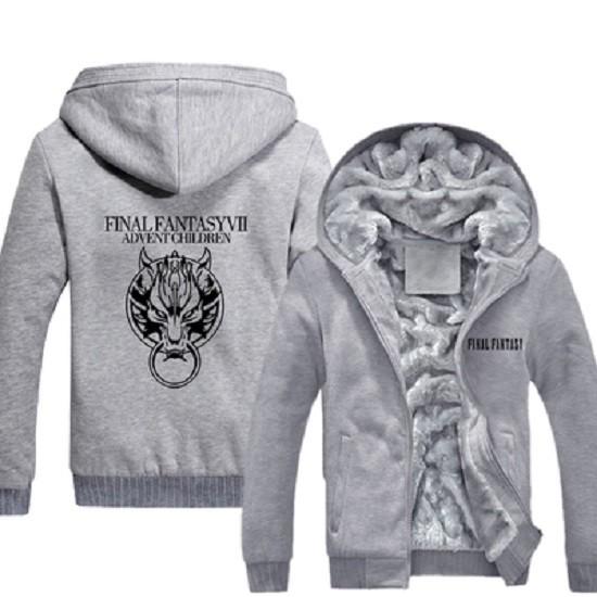 Game Final Fantasy Vii Advent Children Zip Up Hoodie Mens Casual Winter Fleece Super Warm Cotton Coats Sweatshirt Black Gray