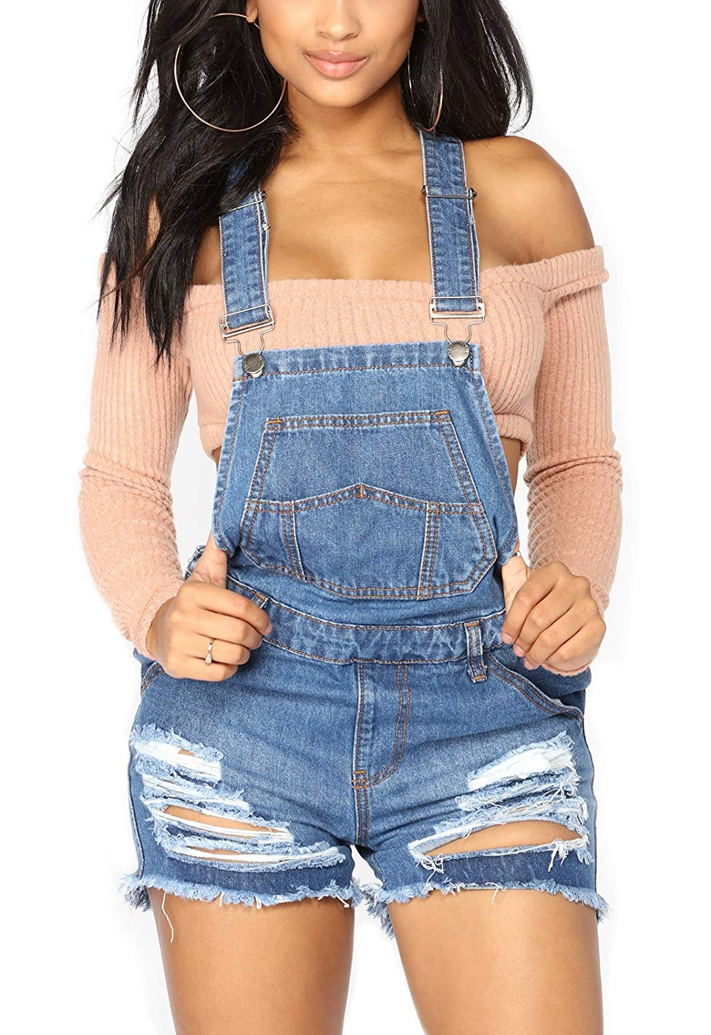 112d17a8ee Get Quotations · GOSOPIN Women Adjustable Juniors Overall Shorts Distressed  Denim Rompers